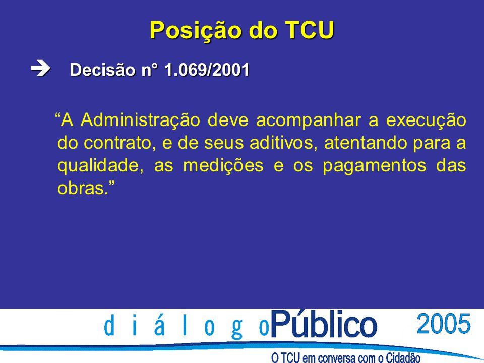 Posição do TCU è Decisão n° 1.069/2001 A Administração deve acompanhar a execução do contrato, e de seus aditivos, atentando para a qualidade, as medições e os pagamentos das obras.