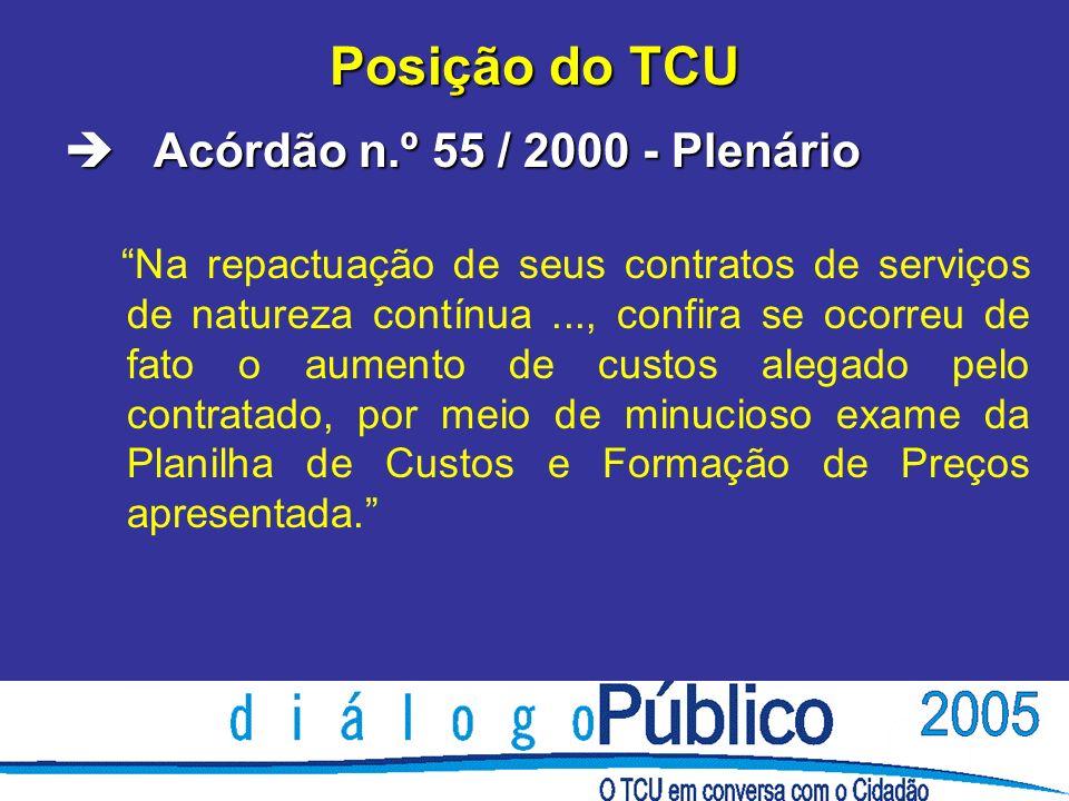 Posição do TCU è Acórdão n.º 55 / 2000 - Plenário Na repactuação de seus contratos de serviços de natureza contínua..., confira se ocorreu de fato o aumento de custos alegado pelo contratado, por meio de minucioso exame da Planilha de Custos e Formação de Preços apresentada.
