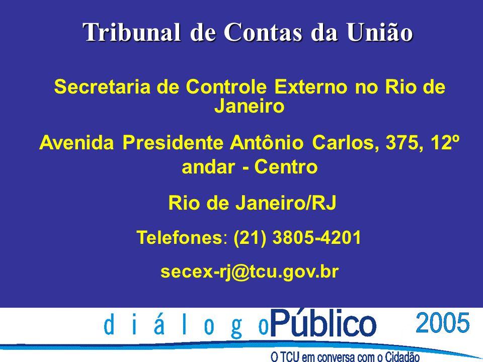 Tribunal de Contas da União Secretaria de Controle Externo no Rio de Janeiro Avenida Presidente Antônio Carlos, 375, 12º andar - Centro Rio de Janeiro/RJ Telefones: (21) 3805-4201 secex-rj@tcu.gov.br