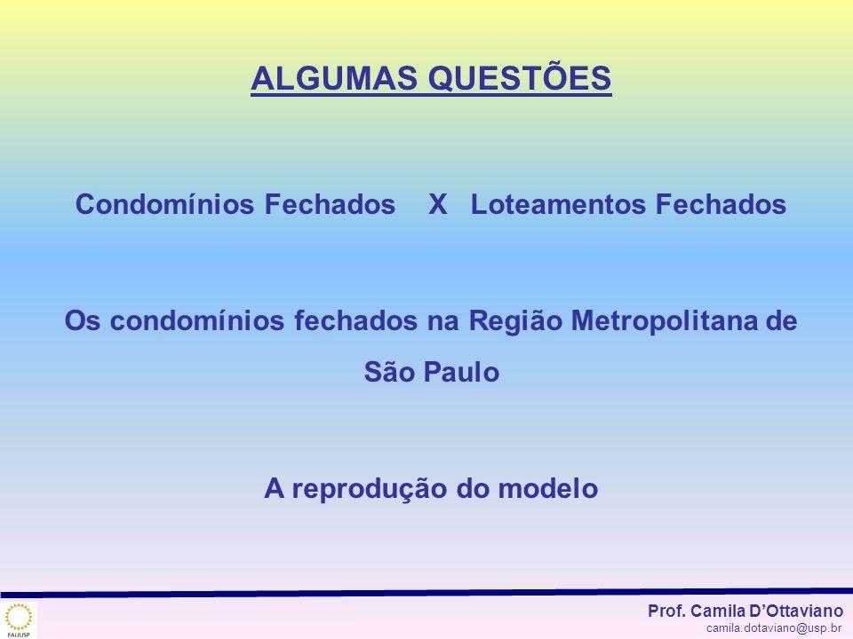 ALGUMAS QUESTÕES Condomínios Fechados X Loteamentos Fechados Os condomínios fechados na Região Metropolitana de São Paulo A reprodução do modelo Prof.