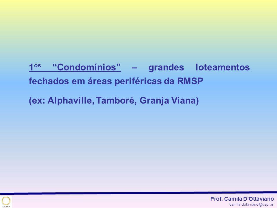 1 os Condomínios – grandes loteamentos fechados em áreas periféricas da RMSP (ex: Alphaville, Tamboré, Granja Viana) Prof. Camila DOttaviano camila.do