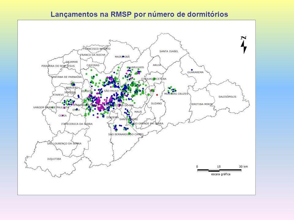 Lançamentos na RMSP por número de dormitórios