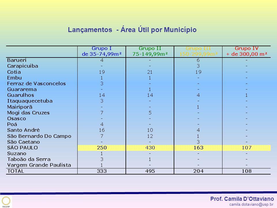 Lançamentos - Área Útil por Município Prof. Camila DOttaviano camila.dotaviano@usp.br