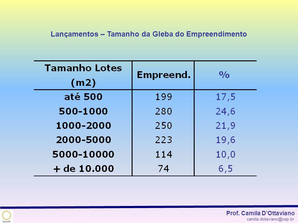 Lançamentos – Tamanho da Gleba do Empreendimento Prof. Camila DOttaviano camila.dotaviano@usp.br