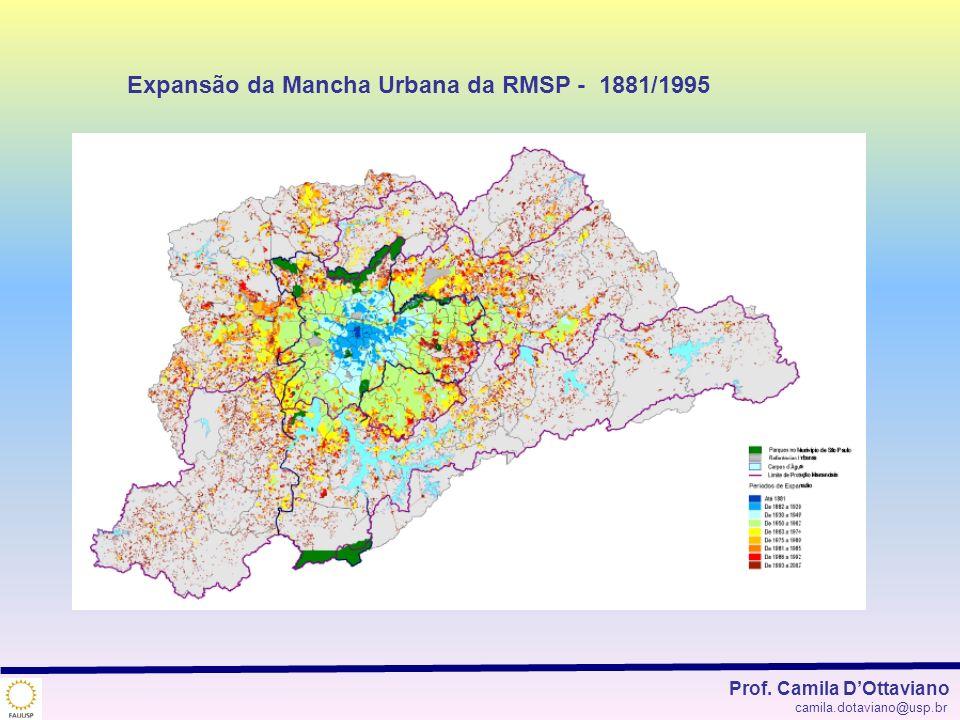 Expansão da Mancha Urbana da RMSP - 1881/1995 Prof. Camila DOttaviano camila.dotaviano@usp.br