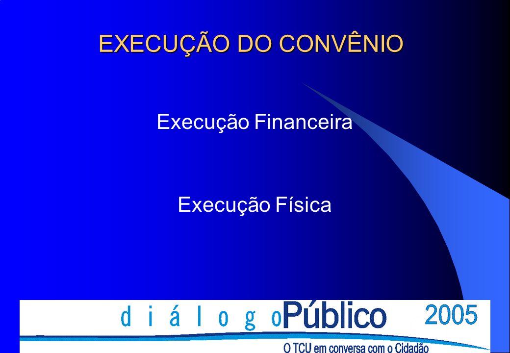 EXECUÇÃO DO CONVÊNIO Execução Financeira Execução Física