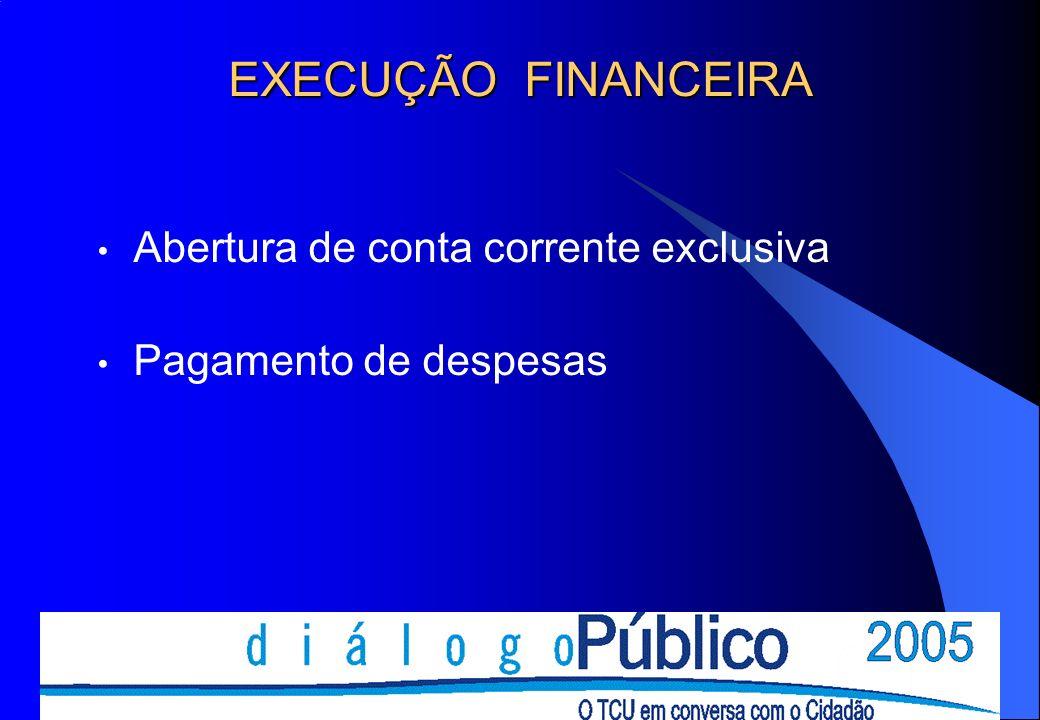 EXECUÇÃO FINANCEIRA Abertura de conta corrente exclusiva Pagamento de despesas