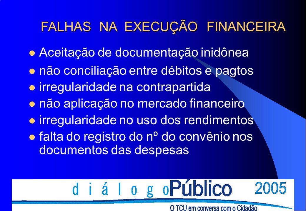 Aceitação de documentação inidônea não conciliação entre débitos e pagtos irregularidade na contrapartida não aplicação no mercado financeiro irregularidade no uso dos rendimentos falta do registro do nº do convênio nos documentos das despesas FALHAS NA EXECUÇÃO FINANCEIRA