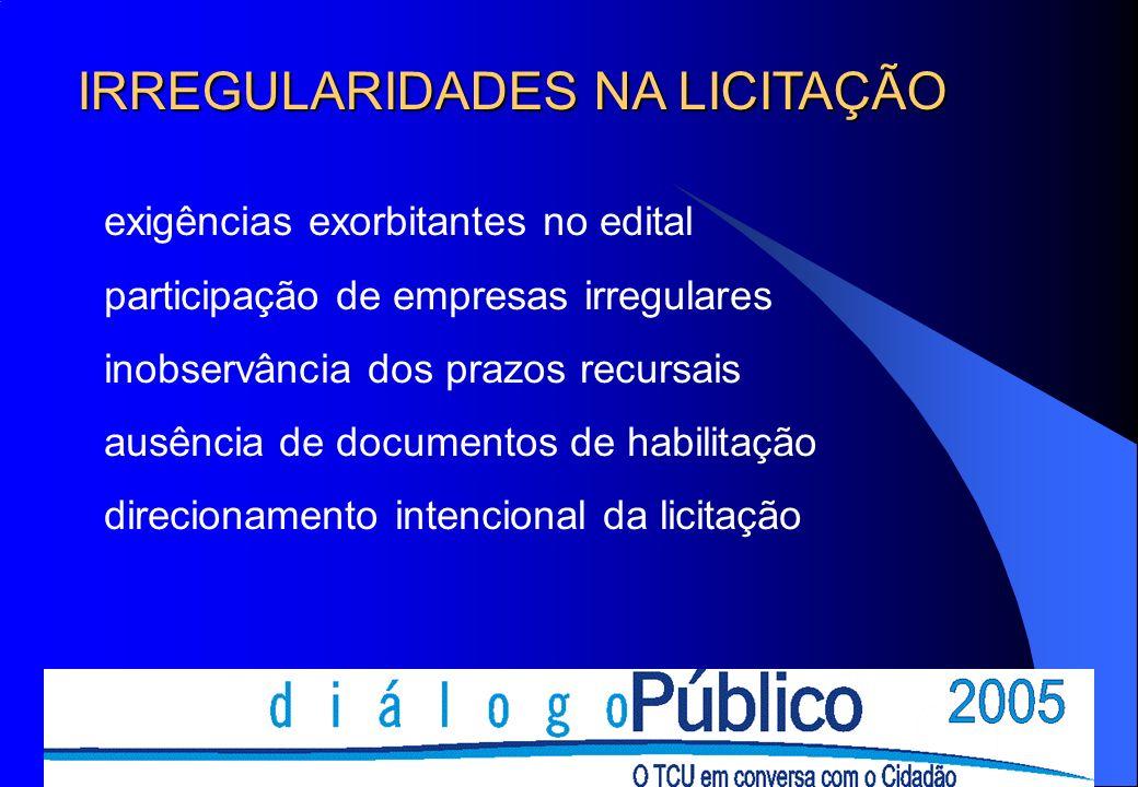 exigências exorbitantes no edital participação de empresas irregulares inobservância dos prazos recursais ausência de documentos de habilitação direcionamento intencional da licitação IRREGULARIDADES NA LICITAÇÃO