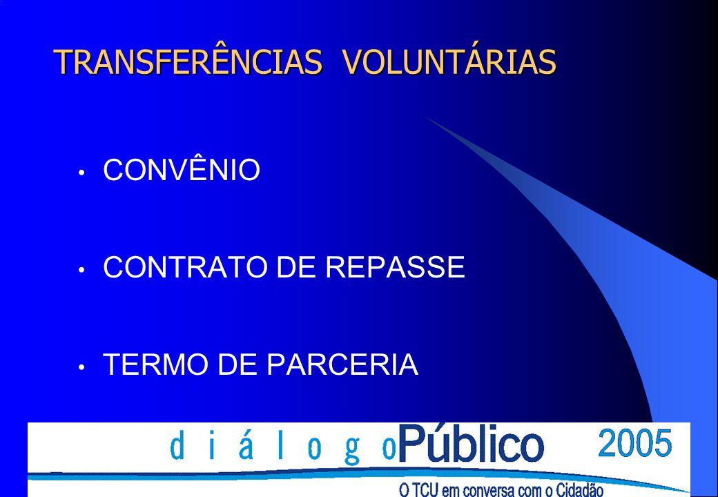 TRANSFERÊNCIAS VOLUNTÁRIAS CONVÊNIO CONTRATO DE REPASSE TERMO DE PARCERIA