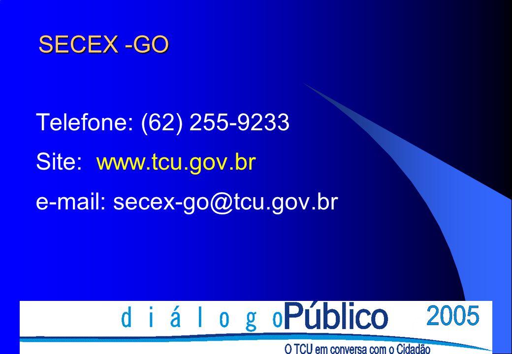 SECEX -GO Telefone: (62) 255-9233 Site: www.tcu.gov.br e-mail: secex-go@tcu.gov.br