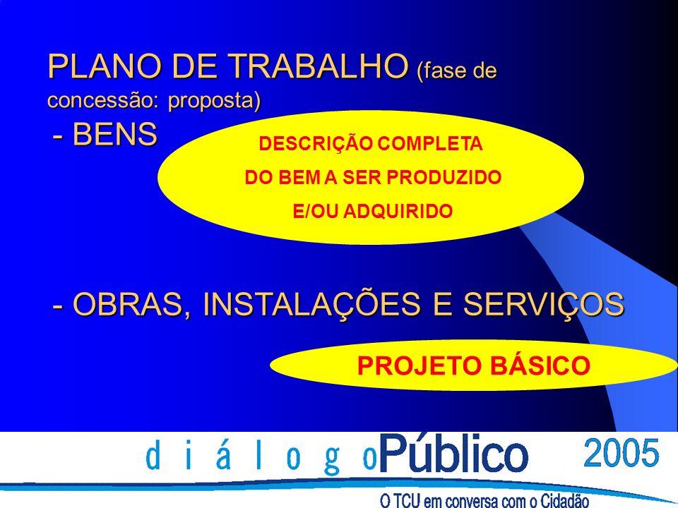 DESCRIÇÃO COMPLETA DO BEM A SER PRODUZIDO E/OU ADQUIRIDO PROJETO BÁSICO PLANO DE TRABALHO (fase de concessão: proposta) - BENS - OBRAS, INSTALAÇÕES E SERVIÇOS