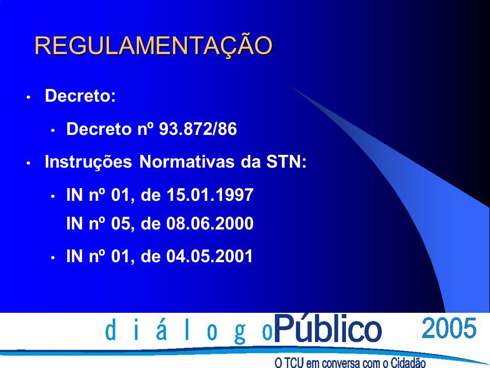 REGULAMENTAÇÃO Decreto: Decreto nº 93.872/86 Instruções Normativas da STN: IN nº 01, de 15.01.1997 IN nº 05, de 08.06.2000 IN nº 01, de 04.05.2001