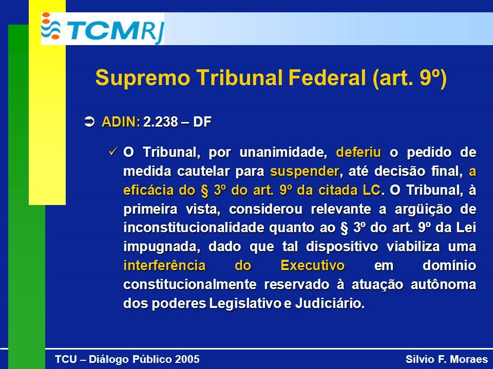 TCU – Diálogo Público 2005Silvio F. Moraes Supremo Tribunal Federal (art. 9º) ADIN: 2.238 – DF ADIN: 2.238 – DF O Tribunal, por unanimidade, deferiu o