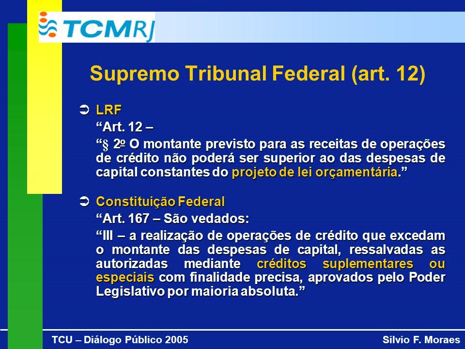 TCU – Diálogo Público 2005Silvio F. Moraes Supremo Tribunal Federal (art. 12) LRF LRF Art. 12 – § 2 o O montante previsto para as receitas de operaçõe