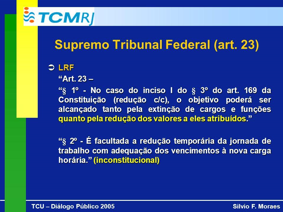 TCU – Diálogo Público 2005Silvio F. Moraes Supremo Tribunal Federal (art. 23) LRF LRF Art. 23 – § 1º - No caso do inciso I do § 3º do art. 169 da Cons