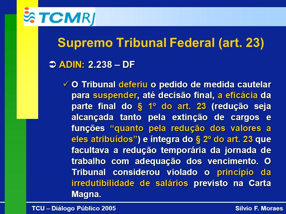 TCU – Diálogo Público 2005Silvio F. Moraes Supremo Tribunal Federal (art. 23) ADIN: 2.238 – DF ADIN: 2.238 – DF O Tribunal deferiu o pedido de medida