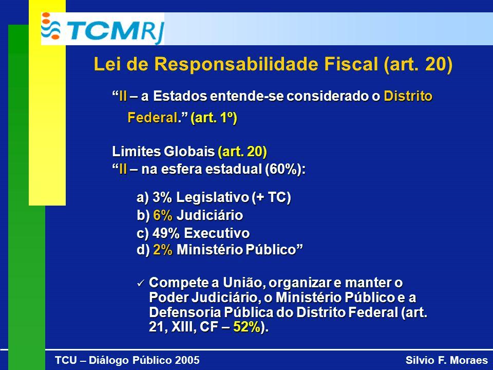 TCU – Diálogo Público 2005Silvio F. Moraes Lei de Responsabilidade Fiscal (art. 20) II – a Estados entende-se considerado o Distrito Federal. (art. 1º
