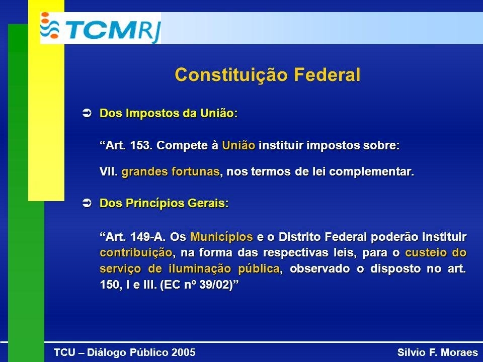 TCU – Diálogo Público 2005Silvio F. Moraes Constituição Federal Dos Impostos da União: Dos Impostos da União: Art. 153. Compete à União instituir impo