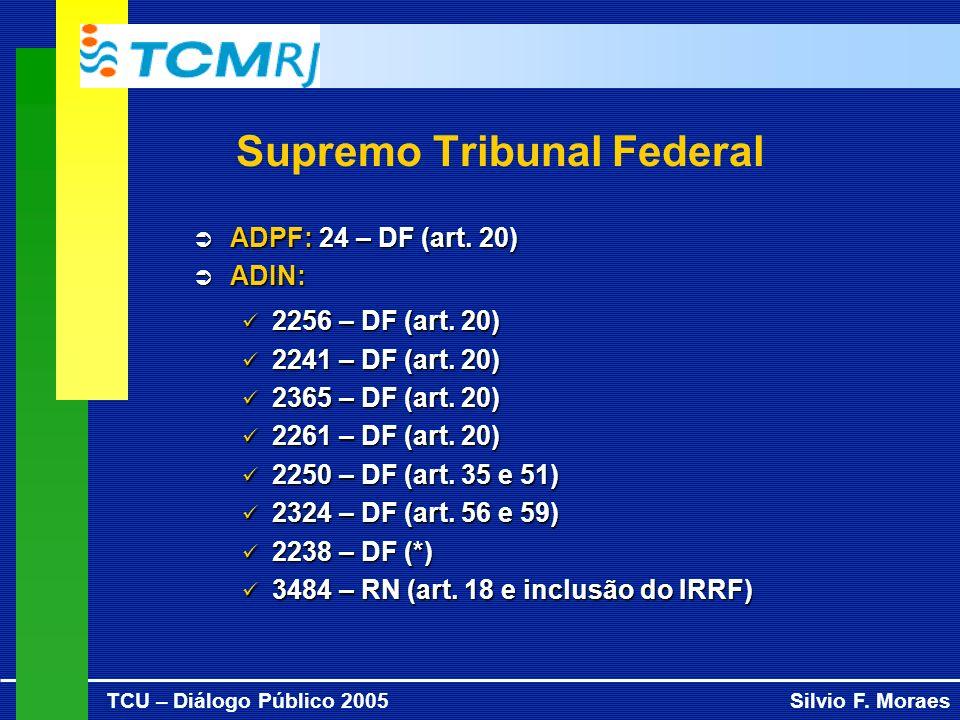 TCU – Diálogo Público 2005Silvio F. Moraes Supremo Tribunal Federal ADPF: 24 – DF (art.