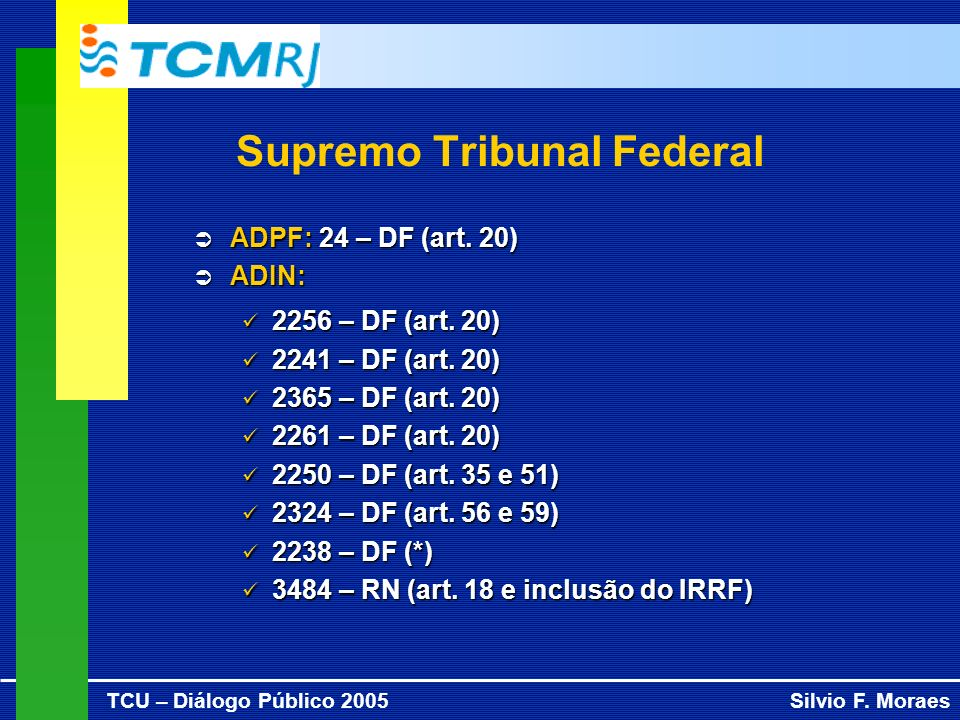 TCU – Diálogo Público 2005Silvio F. Moraes Supremo Tribunal Federal ADPF: 24 – DF (art. 20) ADPF: 24 – DF (art. 20) ADIN: ADIN: 2256 – DF (art. 20) 22