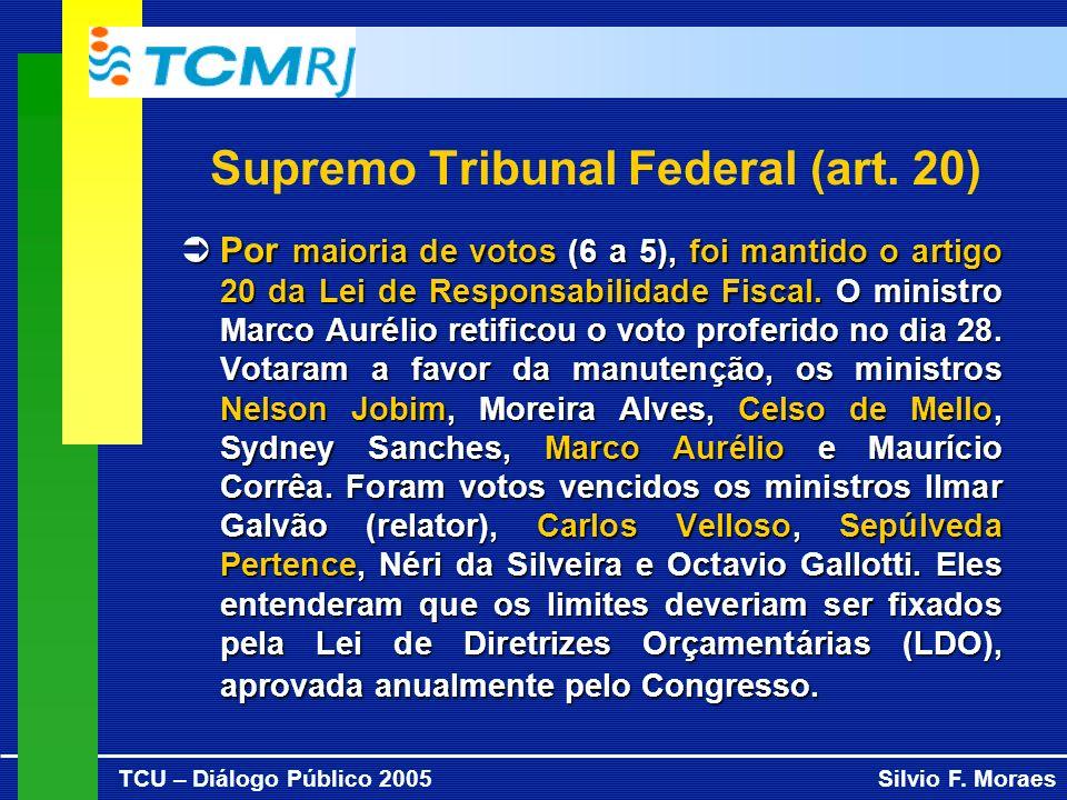 TCU – Diálogo Público 2005Silvio F. Moraes Supremo Tribunal Federal (art. 20) Ü Por maioria de votos (6 a 5), foi mantido o artigo 20 da Lei de Respon
