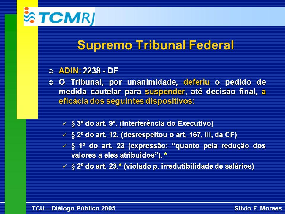 TCU – Diálogo Público 2005Silvio F. Moraes Supremo Tribunal Federal ADIN: 2238 - DF ADIN: 2238 - DF O Tribunal, por unanimidade, deferiu o pedido de m