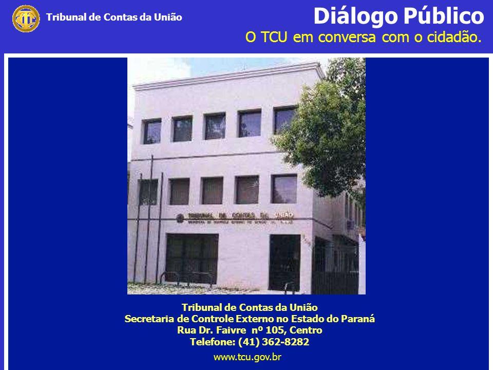 Diálogo Público O TCU em conversa com o cidadão. www.tcu.gov.br Tribunal de Contas da União Secretaria de Controle Externo no Estado do Paraná Rua Dr.