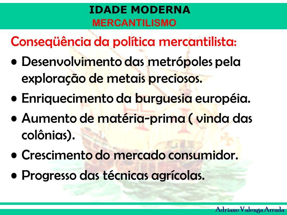 IDADE MODERNA MERCANTILISMO Adriano Valenga Arruda Conseqüência da política mercantilista: Desenvolvimento das metrópoles pela exploração de metais pr