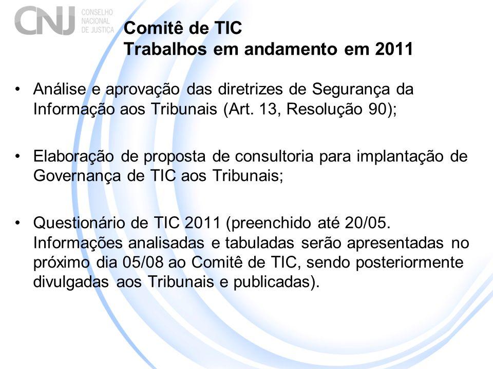 Comitê de TIC Trabalhos em andamento em 2011 Análise e aprovação das diretrizes de Segurança da Informação aos Tribunais (Art. 13, Resolução 90); Elab