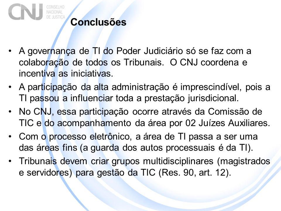 Conclusões A governança de TI do Poder Judiciário só se faz com a colaboração de todos os Tribunais. O CNJ coordena e incentiva as iniciativas. A part