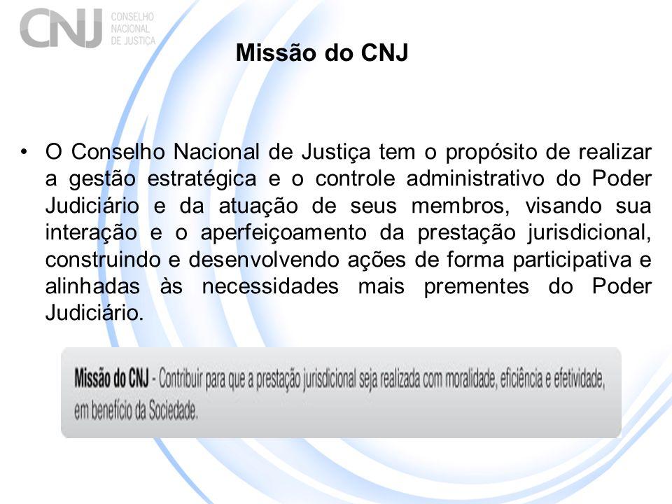 Missão do CNJ O Conselho Nacional de Justiça tem o propósito de realizar a gestão estratégica e o controle administrativo do Poder Judiciário e da atu