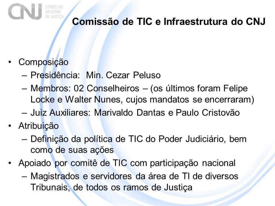 Comissão de TIC e Infraestrutura do CNJ Composição –Presidência: Min. Cezar Peluso –Membros: 02 Conselheiros – (os últimos foram Felipe Locke e Walter