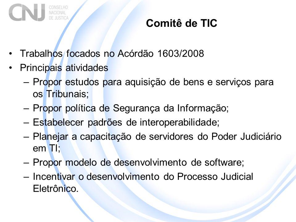 Comitê de TIC Trabalhos focados no Acórdão 1603/2008 Principais atividades –Propor estudos para aquisição de bens e serviços para os Tribunais; –Propo