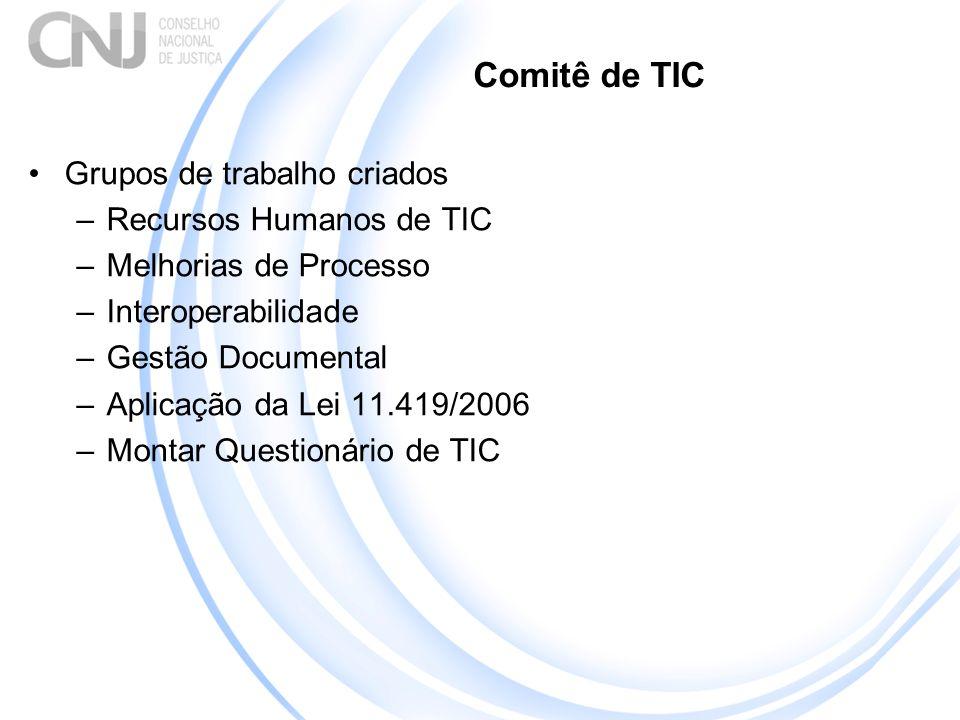 Comitê de TIC Grupos de trabalho criados –Recursos Humanos de TIC –Melhorias de Processo –Interoperabilidade –Gestão Documental –Aplicação da Lei 11.419/2006 –Montar Questionário de TIC