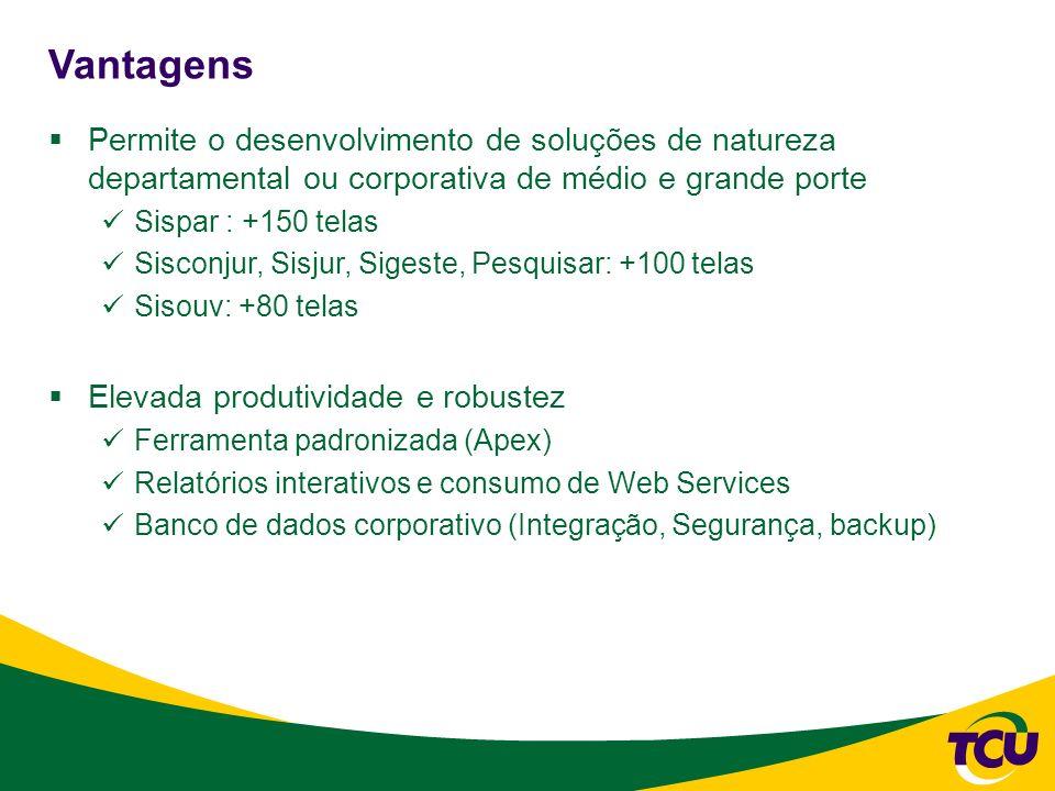 Vantagens Permite o desenvolvimento de soluções de natureza departamental ou corporativa de médio e grande porte Sispar : +150 telas Sisconjur, Sisjur