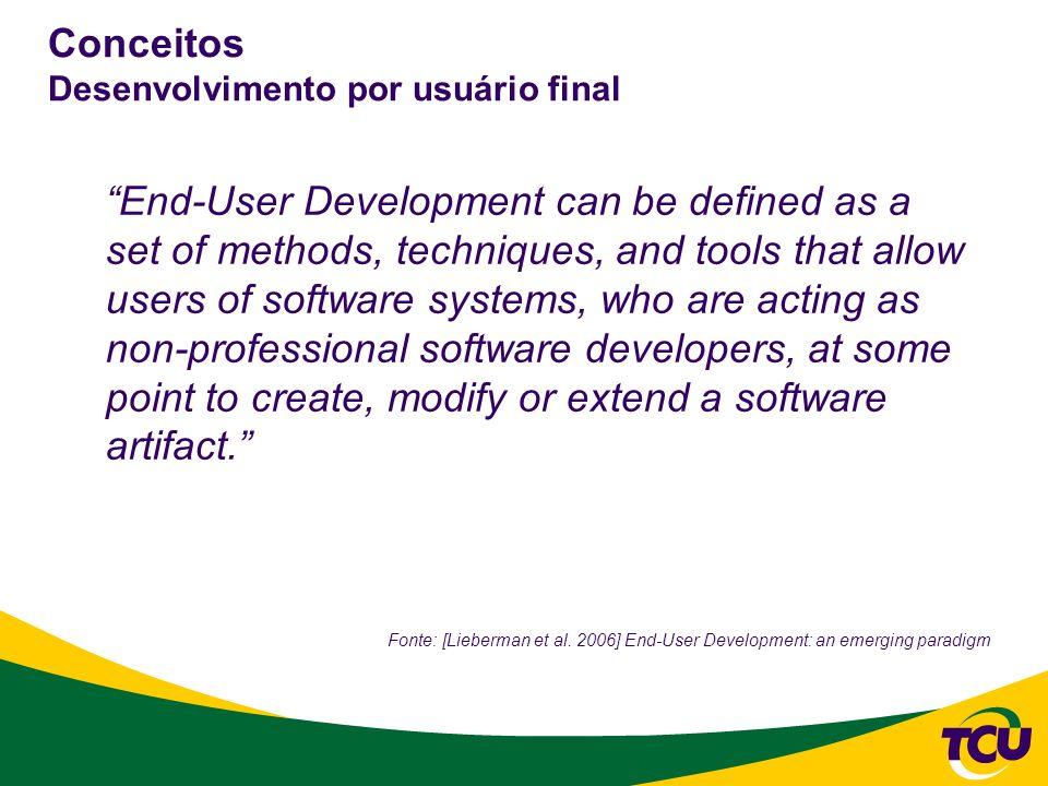 Conceitos Desenvolvimento por usuário final End-User Development can be defined as a set of methods, techniques, and tools that allow users of softwar