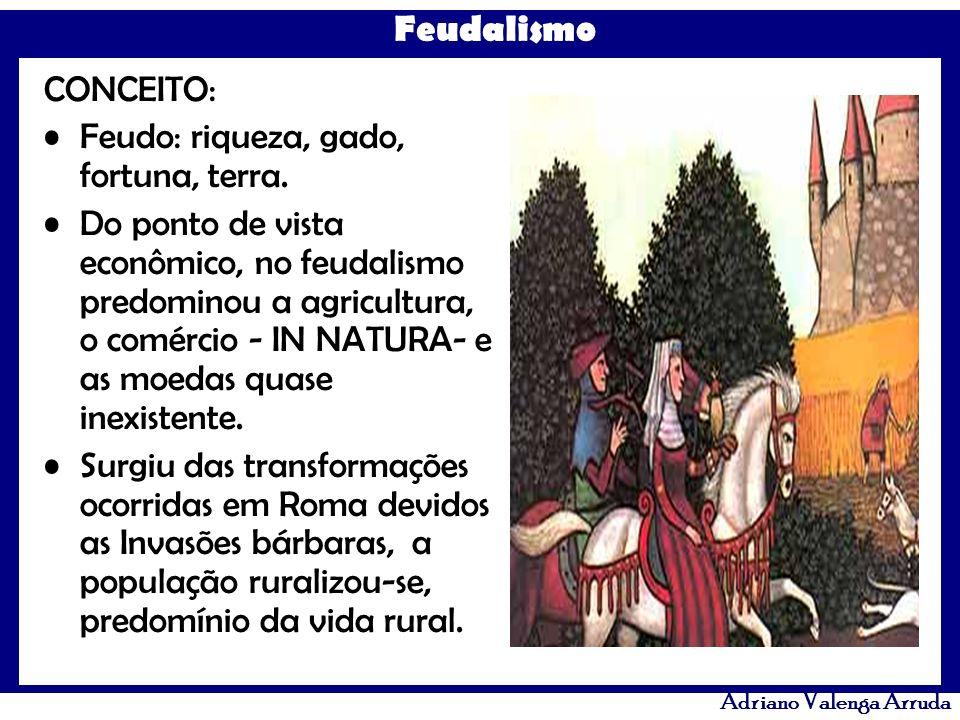 Feudalismo Adriano Valenga Arruda CONCEITO: Feudo: riqueza, gado, fortuna, terra. Do ponto de vista econômico, no feudalismo predominou a agricultura,