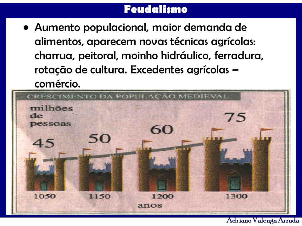 Feudalismo Adriano Valenga Arruda Aumento populacional, maior demanda de alimentos, aparecem novas técnicas agrícolas: charrua, peitoral, moinho hidrá