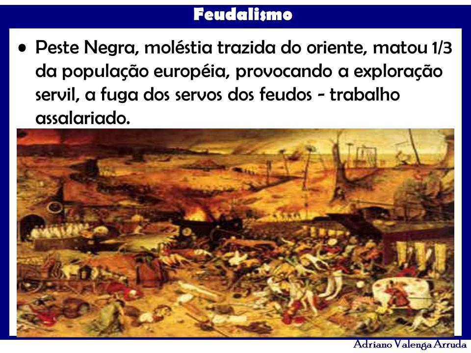Feudalismo Adriano Valenga Arruda Peste Negra, moléstia trazida do oriente, matou 1/3 da população européia, provocando a exploração servil, a fuga do