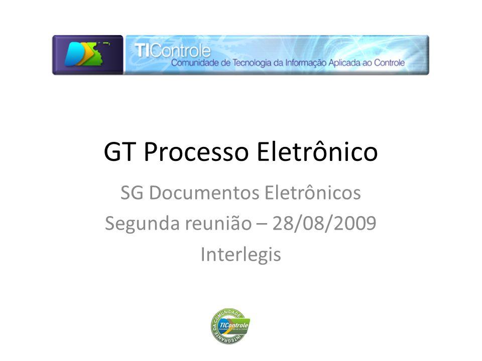 GT Processo Eletrônico SG Documentos Eletrônicos Segunda reunião – 28/08/2009 Interlegis