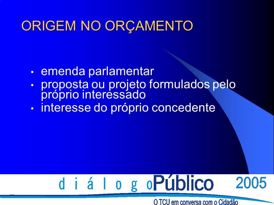 ORIGEM NO ORÇAMENTO emenda parlamentar proposta ou projeto formulados pelo próprio interessado interesse do próprio concedente