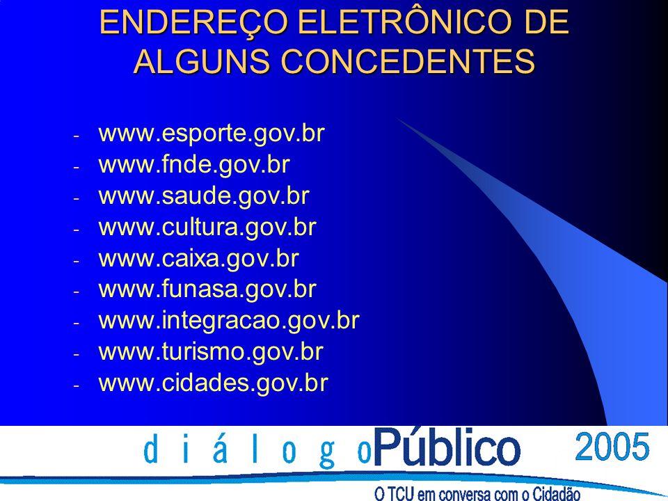 ENDEREÇO ELETRÔNICO DE ALGUNS CONCEDENTES - www.esporte.gov.br - www.fnde.gov.br - www.saude.gov.br - www.cultura.gov.br - www.caixa.gov.br - www.funa