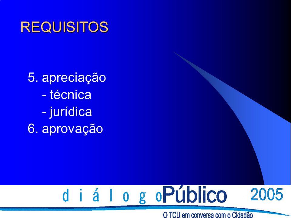 REQUISITOS 5. apreciação - técnica - jurídica 6. aprovação