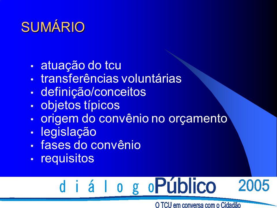 SUMÁRIO atuação do tcu transferências voluntárias definição/conceitos objetos típicos origem do convênio no orçamento legislação fases do convênio req