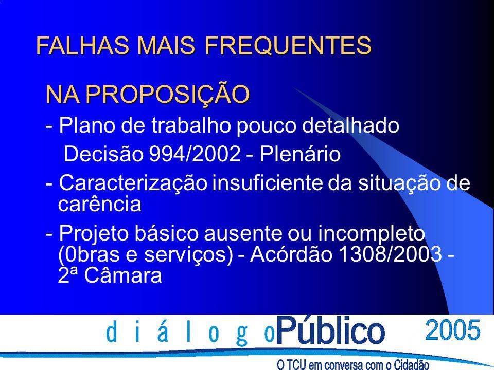 FALHAS MAIS FREQUENTES NA PROPOSIÇÃO - Plano de trabalho pouco detalhado Decisão 994/2002 - Plenário - Caracterização insuficiente da situação de carê