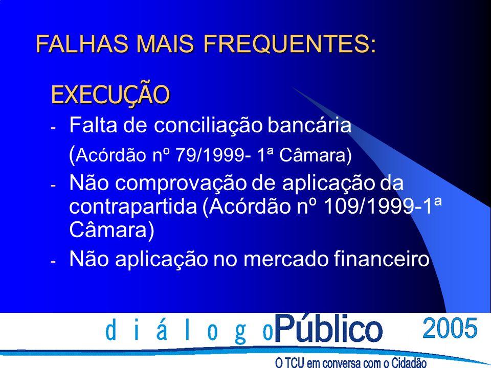 EXECUÇÃO - Falta de conciliação bancária ( Acórdão nº 79/1999- 1ª Câmara) - Não comprovação de aplicação da contrapartida (Acórdão nº 109/1999-1ª Câma