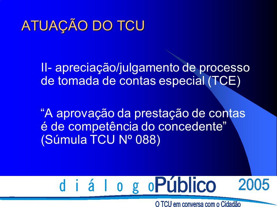 ATUAÇÃO DO TCU II- apreciação/julgamento de processo de tomada de contas especial (TCE) A aprovação da prestação de contas é de competência do concede