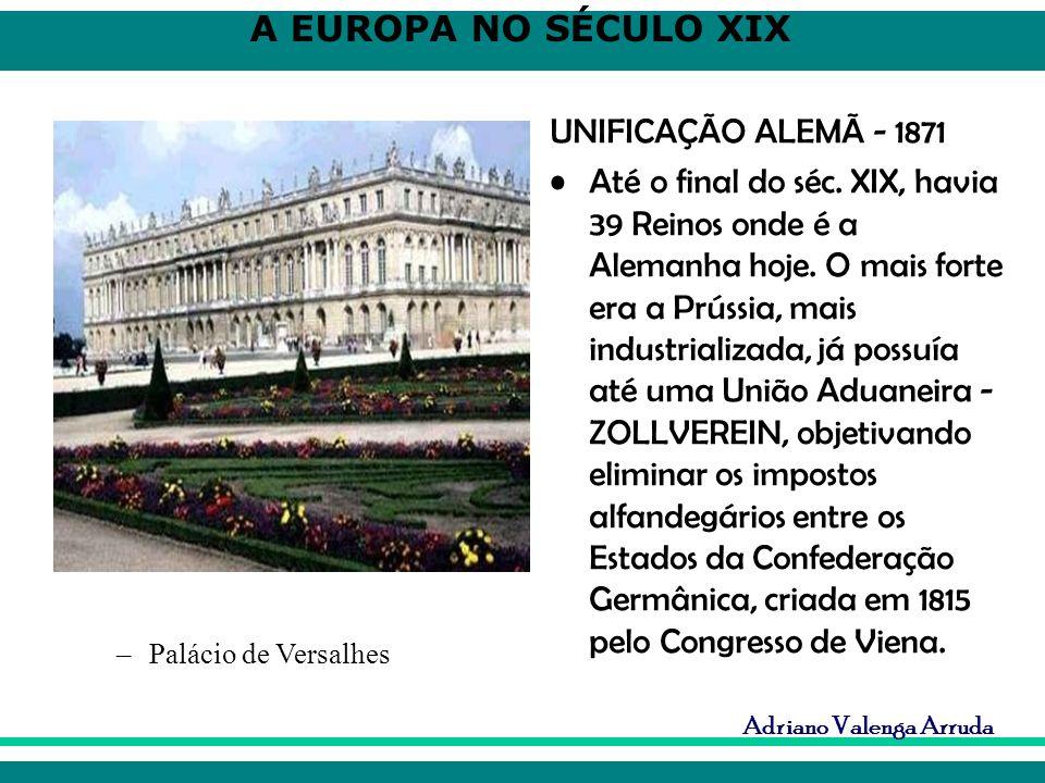 A EUROPA NO SÉCULO XIX Adriano Valenga Arruda UNIFICAÇÃO ALEMÃ - 1871 Até o final do séc. XIX, havia 39 Reinos onde é a Alemanha hoje. O mais forte er