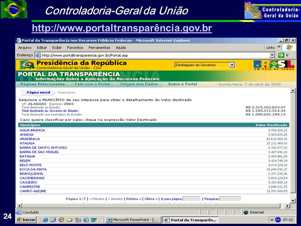 Controladoria-Geral da União 24 http://www.portaltransparência.gov.br